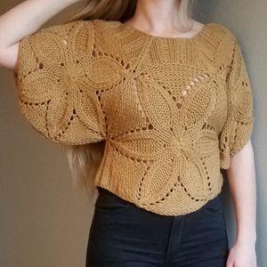 Mustard chunky knit cropped sweater